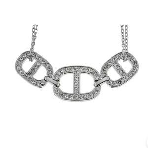 Michael Kors Necklace Silver Plated Crystal